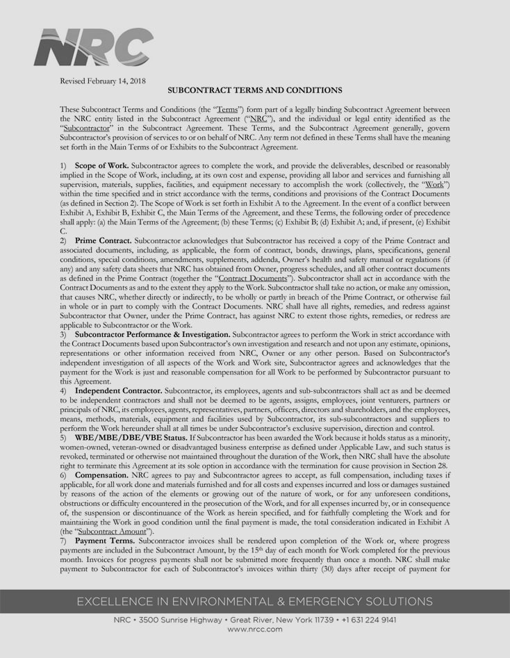 Subcontract Agreement Terms and Conditions